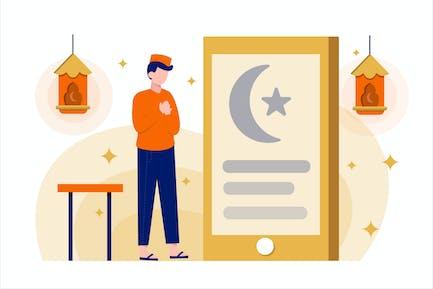 Ramadan Fasting Flat Vector Illustration