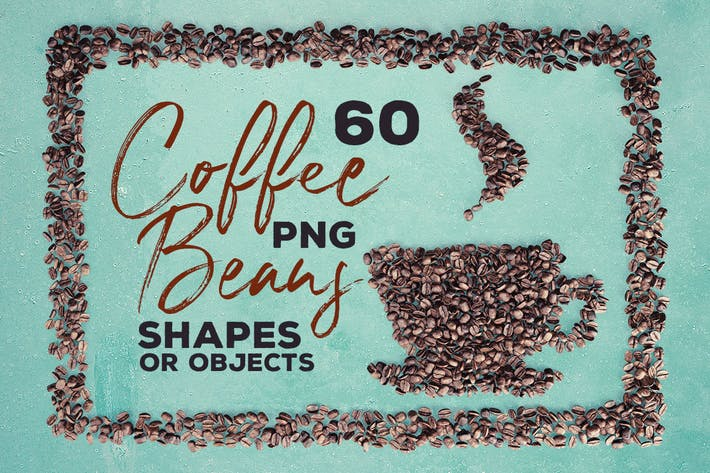 Thumbnail for 60 Coffee Beans - PNG Shapes & Objects