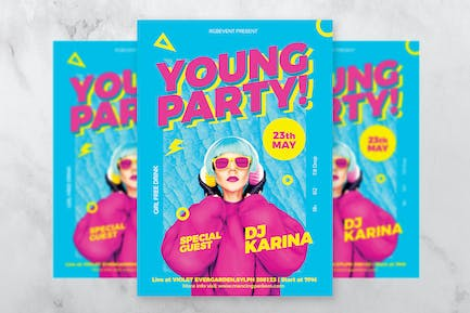 Young Party DJ Flyer / Poster Template