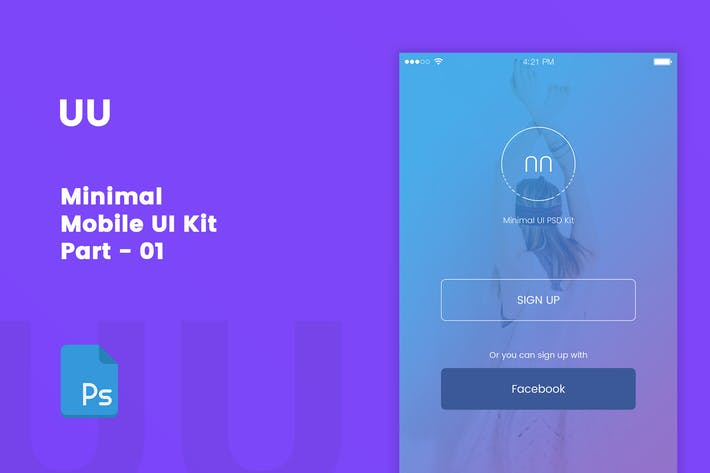 Cover Image For UU - Minimal UI Kit Part 01 Sign Up Screen
