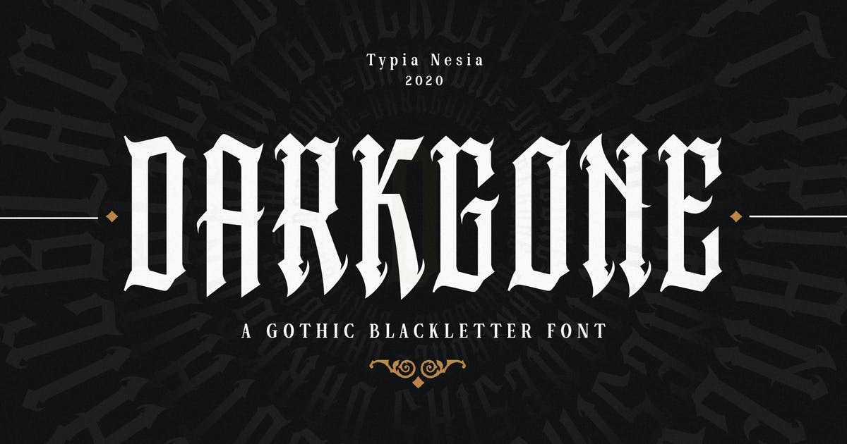 Download Darkgone - Gothic Blackletter Font by yipianesia