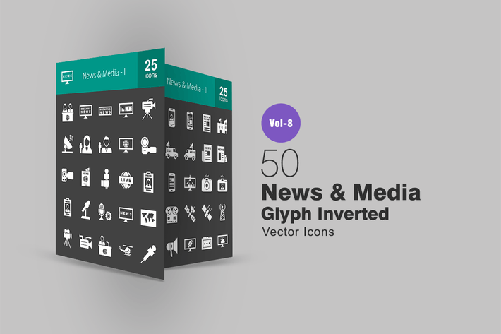 Thumbnail for 50 News & Media Glyph Inverted Icons