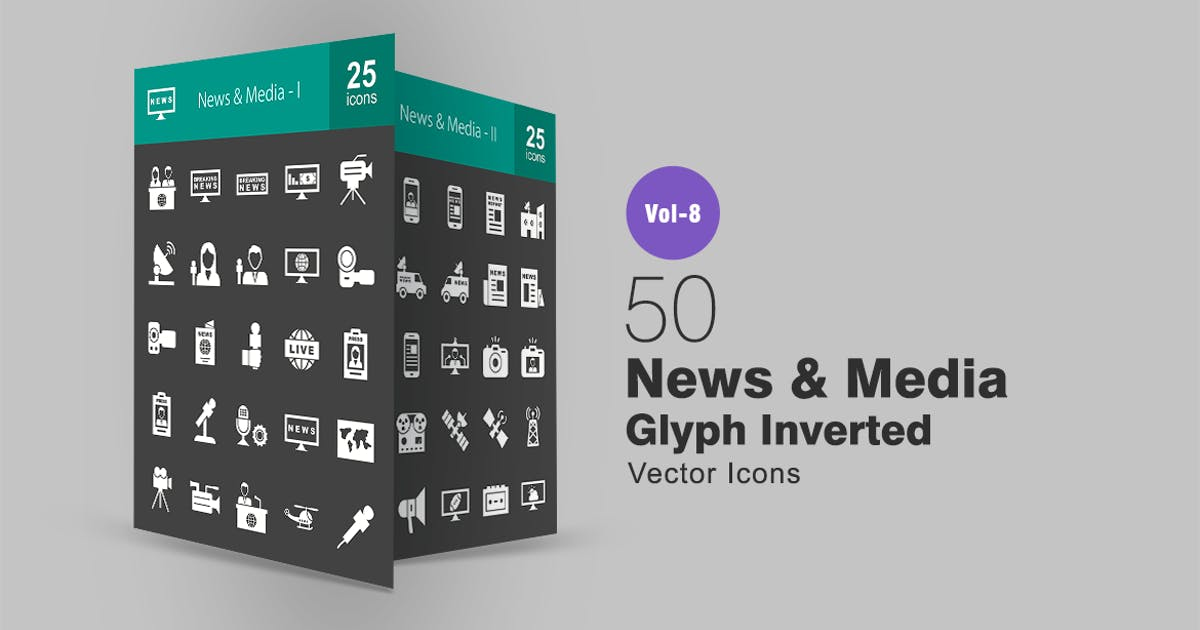 Download 50 News & Media Glyph Inverted Icons by IconBunny