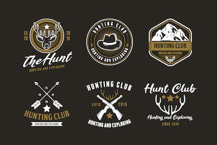 Set of Hunting and Adventure Logo Badge