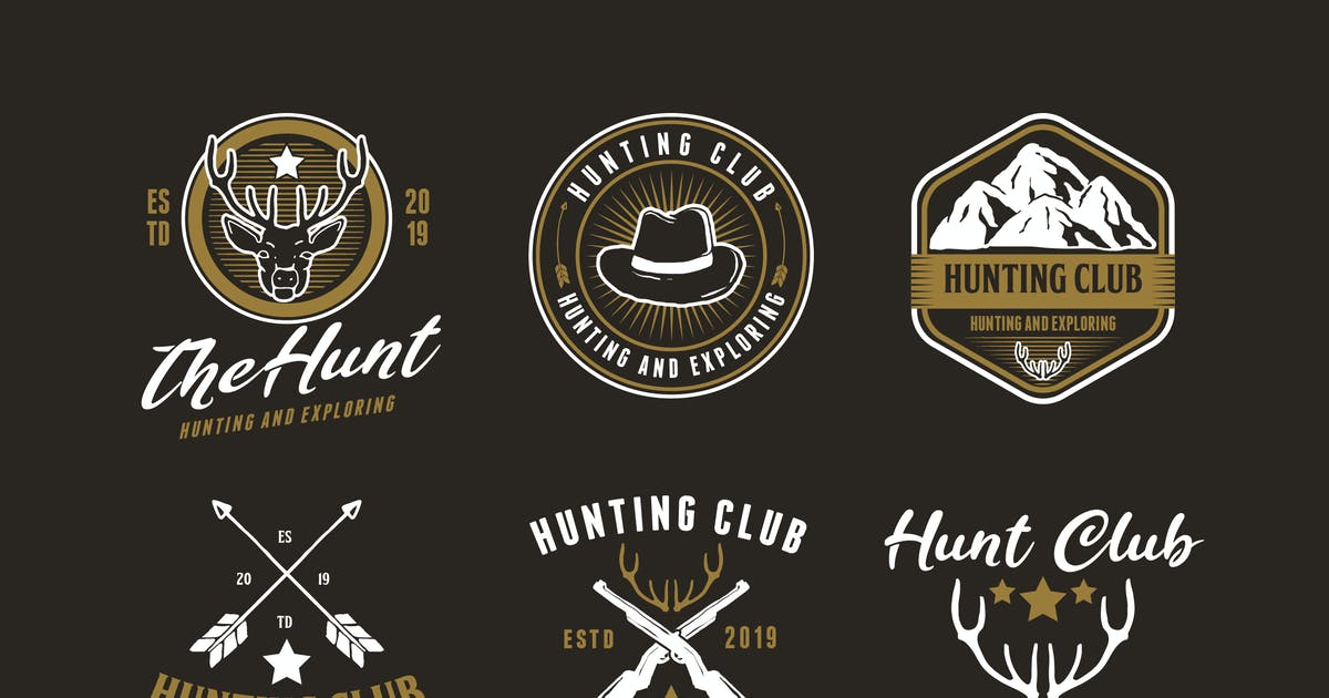 Download Set of Hunting and Adventure Logo Badge by Suhandi