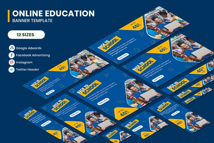 Thumbnail for Online Education Google Adwords Banner Template