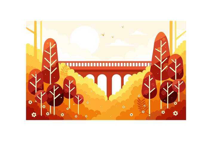 Thumbnail for Beautiful fall autumn scenery and the bridge