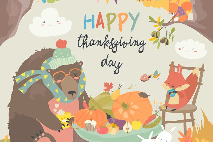 Cute animals celebrating Thanksgiving day. Vector