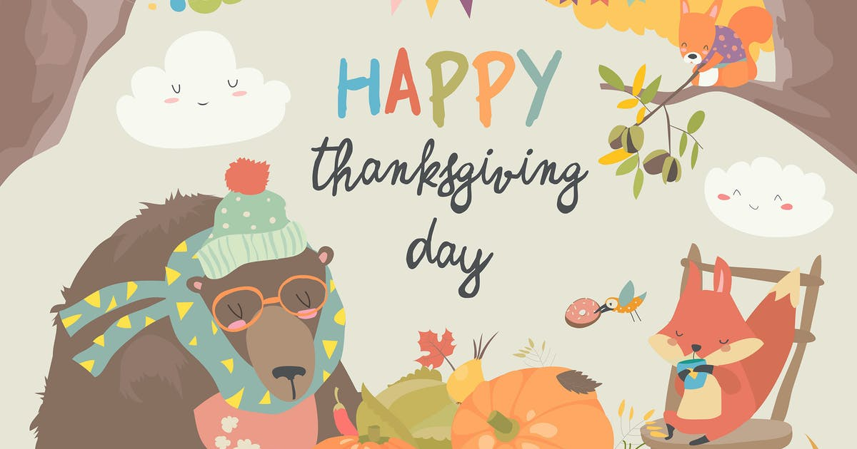 Cute animals celebrating Thanksgiving day. Vector by masastarus