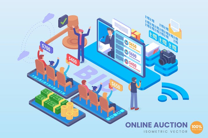 Thumbnail for Isometric Online Auction Vector Concept