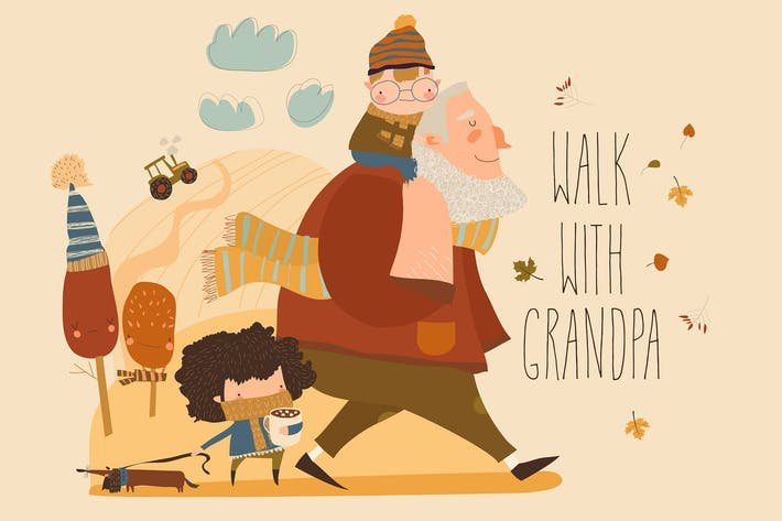 Thumbnail for Cartoon happy grandfather walking with his grandch