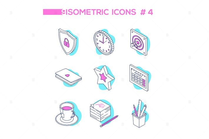 Thumbnail for Office work - line design style isometric icons