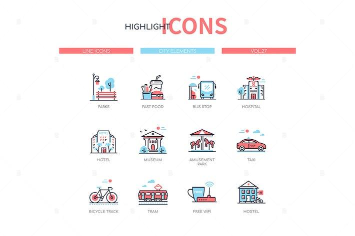 Thumbnail for City elements - line design style icons set