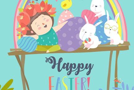 Linda chica con conejos de Pascua y huevos de Pascua.