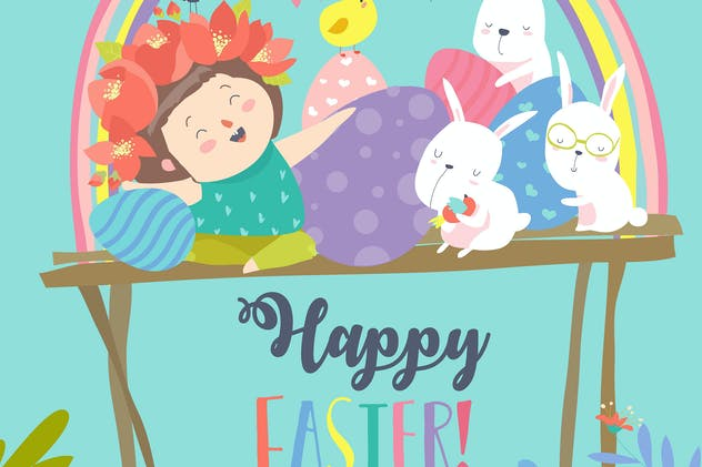 Cute girl with Easter rabbits and Easter eggs.