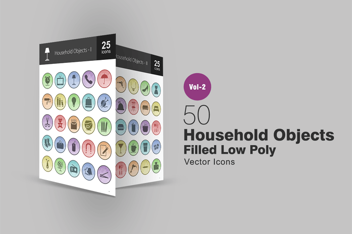 50 Household Objects Filled Low Poly Icons