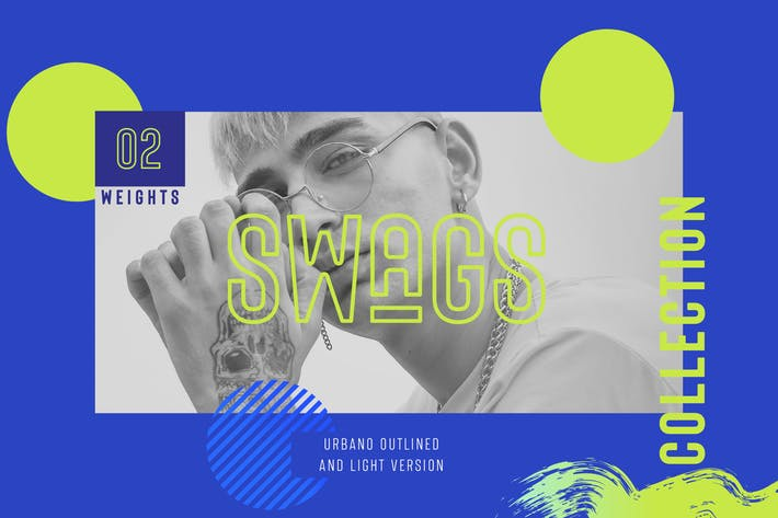 Thumbnail for URBANO SWAGS Outlined Bold header Typeface