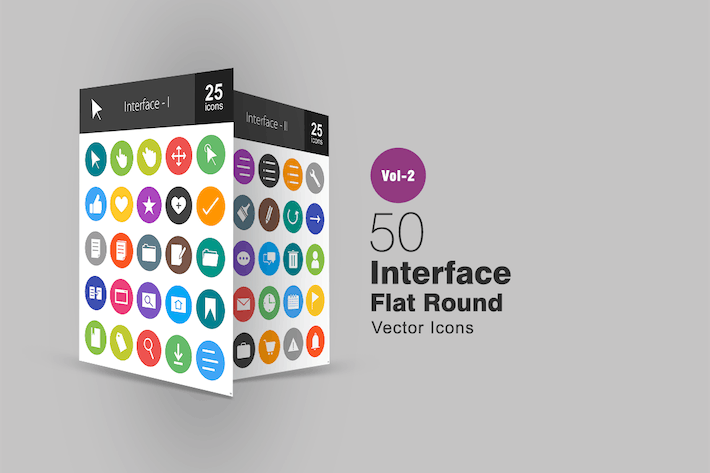 Thumbnail for 50 Interface Flat Round Icons