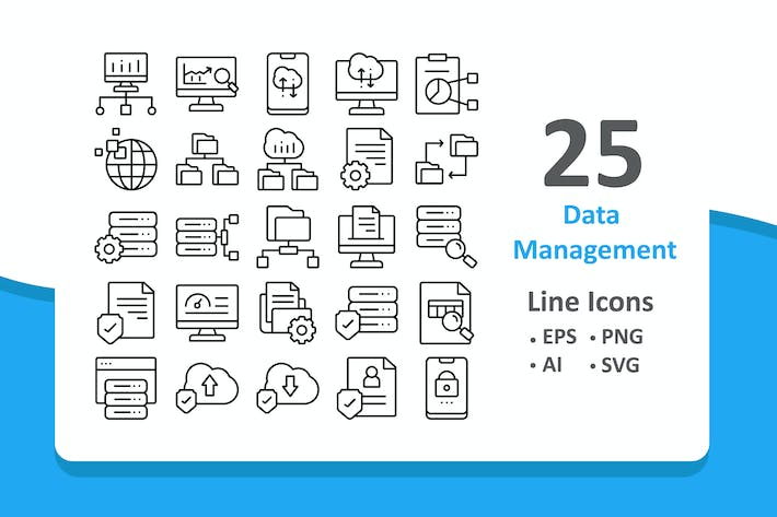 Thumbnail for 25 Data Management Icons - Line