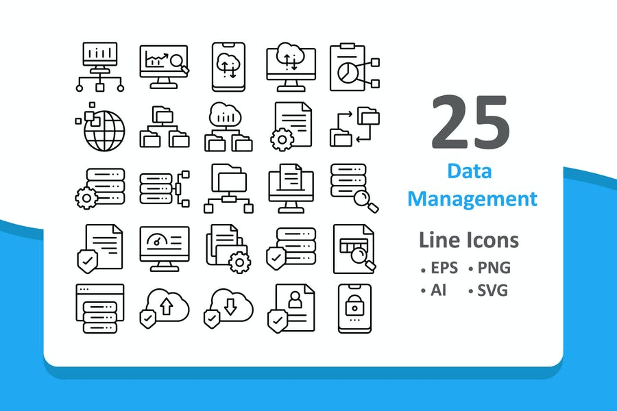 25 Data Management Icons - Line
