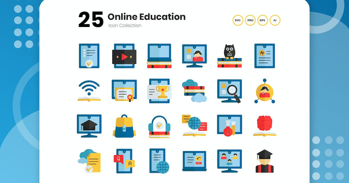 Download 25 Online Education Flat Icon by vectorclans