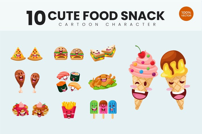 10 Cute Food Snack Vector Illustration Vol.1