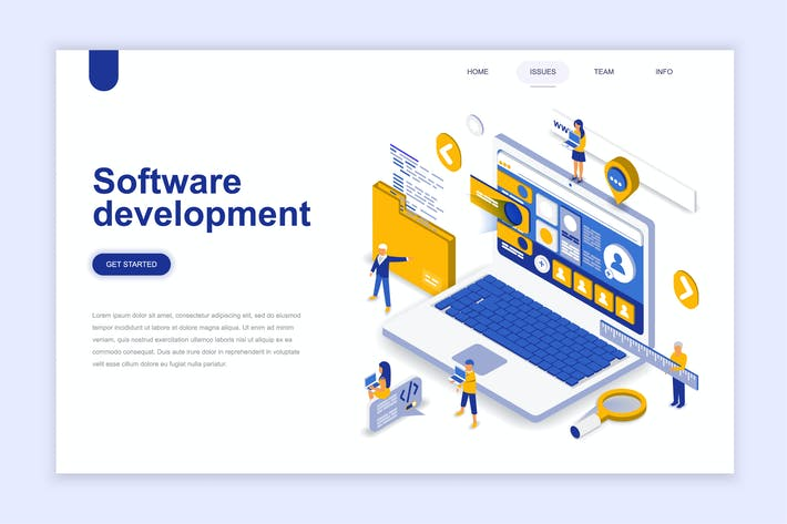 Thumbnail for Software Development Isometric Landing Page