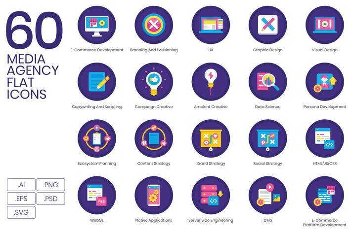 Thumbnail for 60 Media Agency Icons | Orchid Series