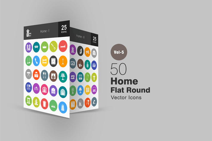 Thumbnail for 50 Home Flat Round Icons