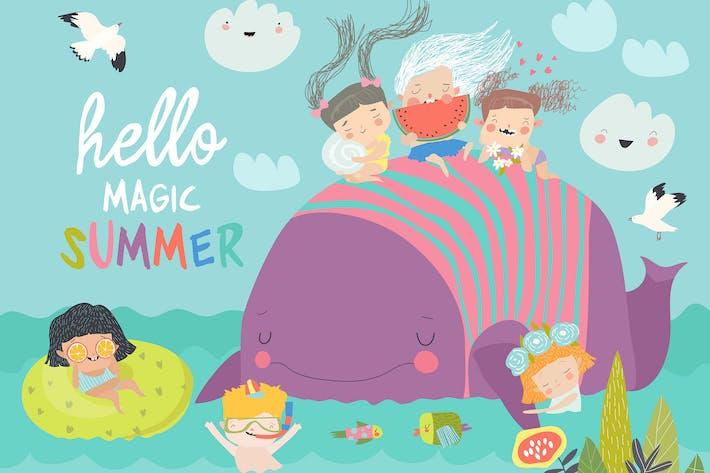 Des enfants mignons avec une grosse baleine #illustration2020