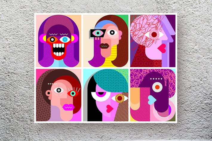 Cover Image For Six Faces / Six Characters vector illustration