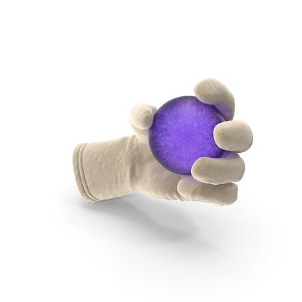 Handschuh Holding Lila Kristallkugel