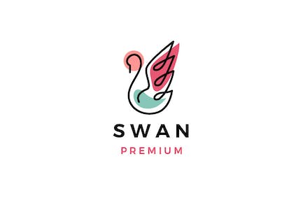 Swan Outline Colorful Logo