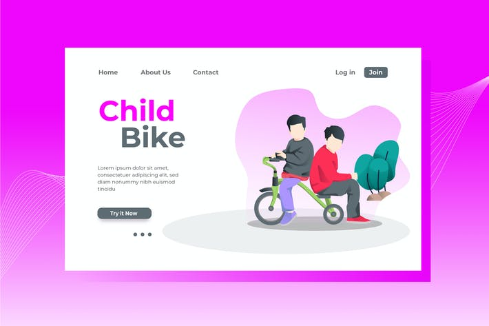 Thumbnail for Child Bike Landing Page Illustration