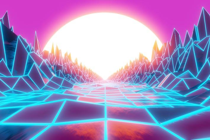 Synthwave und Retrowave Hintergrund 002