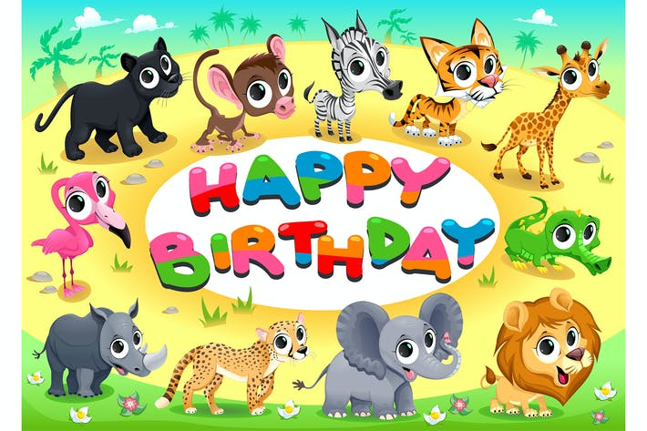 Happy Birthday Card with Jungle Animals