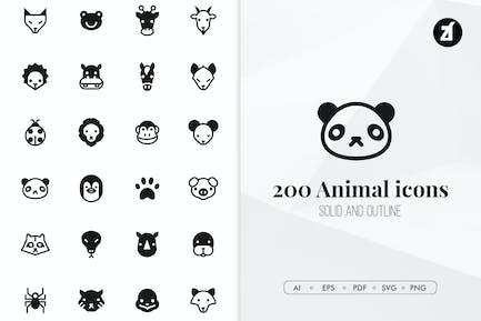 200 minimale Icons für Tiere