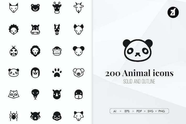 Thumbnail for 200 Icones animales minimales
