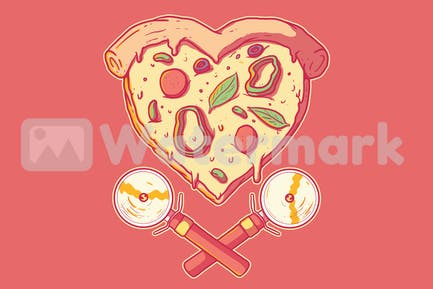 Heart shape pizza