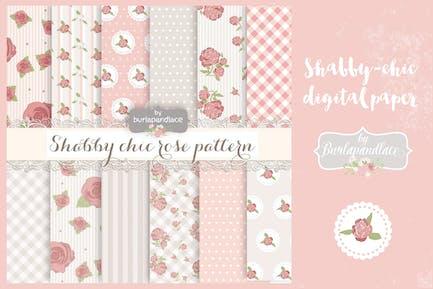 Shabby chic rose digital paper pack