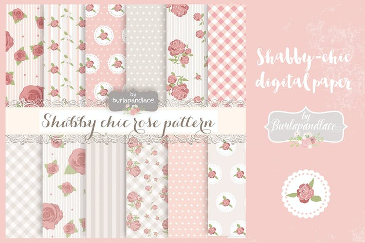 Thumbnail for Shabby chic rose digital paper pack