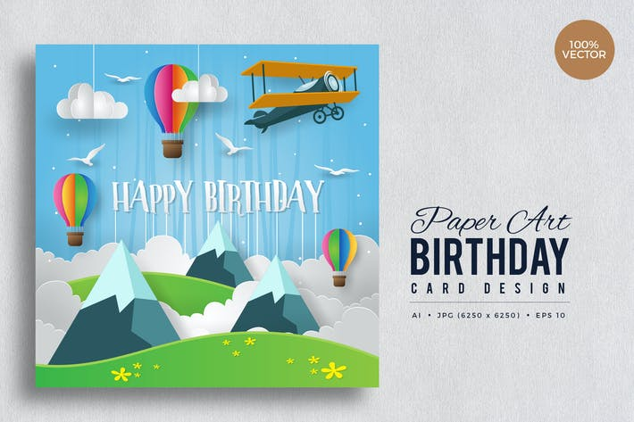 Thumbnail for Paper Art Happy Birthday Vector Card Vol.2