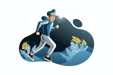 Человек бег трусцой ночью иллюстрация