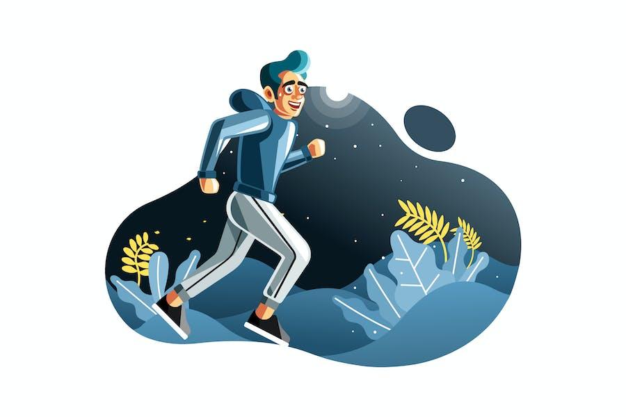 Mann joggen in der Nacht Illustration