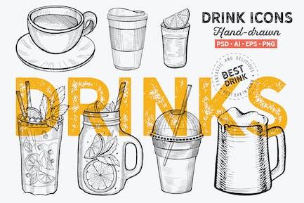 Graphique Drinks dessiné à la main