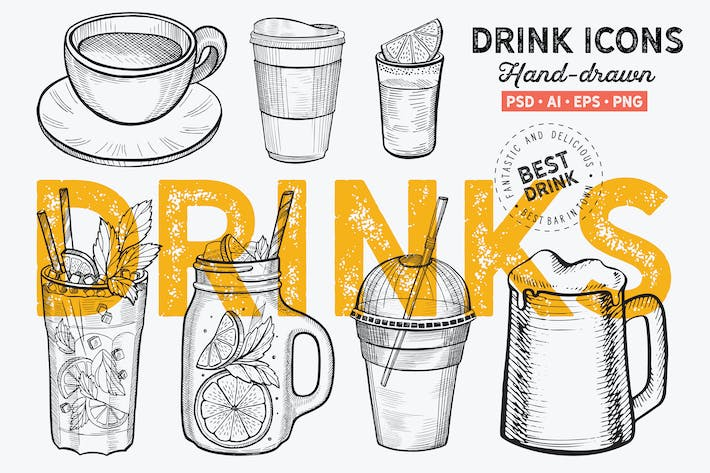 Thumbnail for Drinks Hand-Drawn Graphic