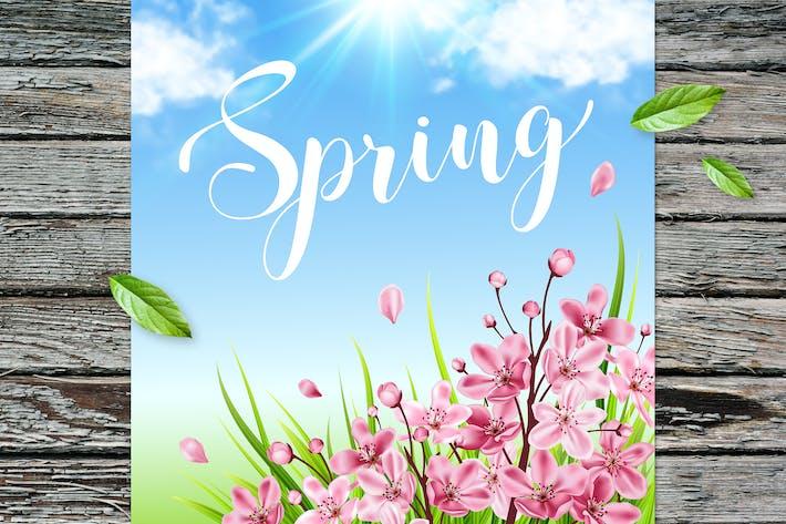 Frühlings-Hintergrund mit Kirsche