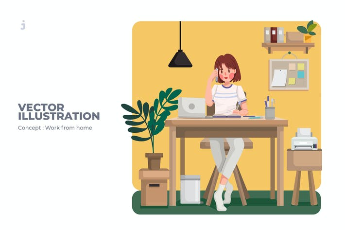 Cover Image For Work From Home - Vector Illustration