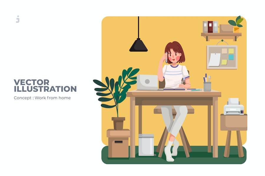 Work From Home - Vector Illustration