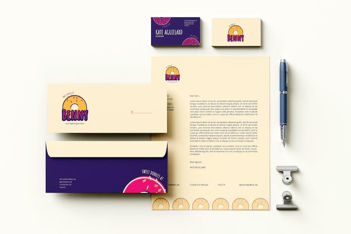 Thumbnail for Kuchen Branding Identität & Schreibwaren Pack